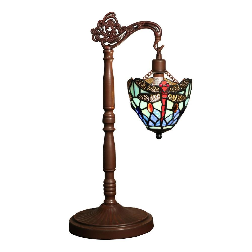 Nahla 21 In Bronze Indoor Table Lamp Dragonfly Tiffany Style Shade