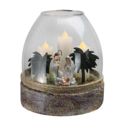 5 in. Clear Glass Joseph Mary and Jesus Figurine Flickering Candle Jar
