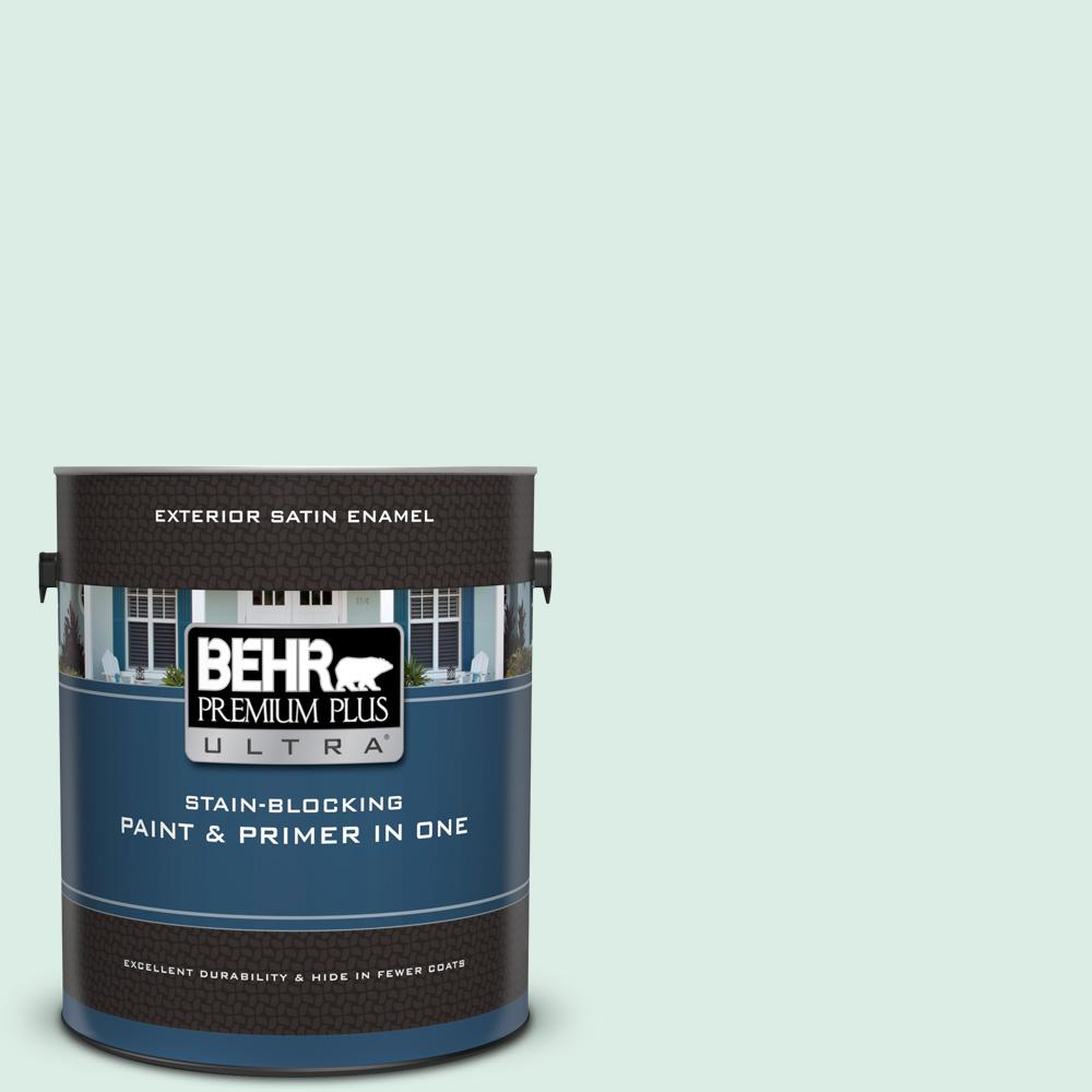Behr Premium Plus Ultra 1 Gal M420 1 Sparkling Brook Satin Enamel Exterior Paint And Primer In One 985001 The Home Depot