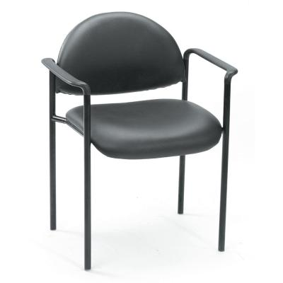 Black Vinyl Cushions Black Steel Frame Molded Arm Caps Stackable Guest Chair