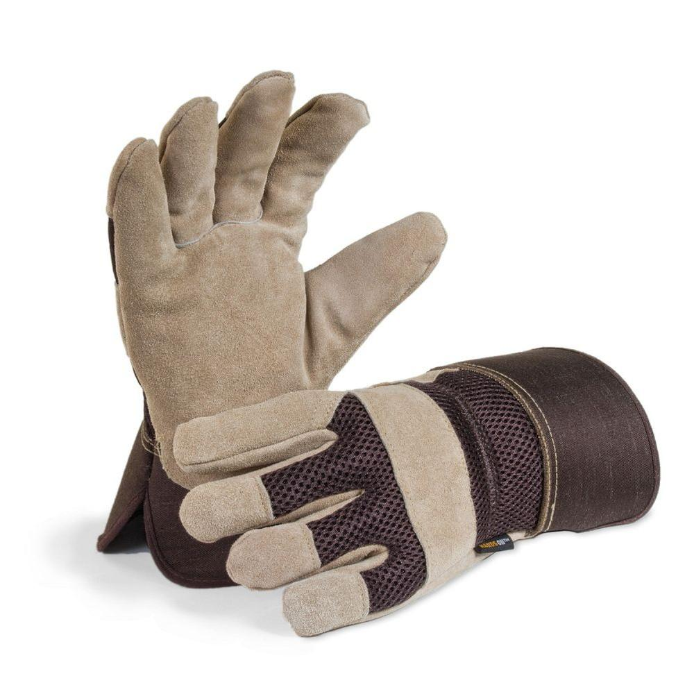 Hands on work gloves workwear apparel the home depot mens premium suede leather palm work glove freerunsca Choice Image