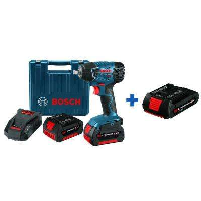 18 Volt Lithium-Ion Cordless Electric 1/2 in. Impact Wrench Kit (2) 4.0 Ah Batteries and Hard Case