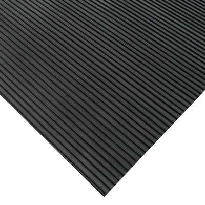 Corrugated Ramp Cleat 3 ft. x 6 ft. Black Rubber Flooring (18 sq. ft.)