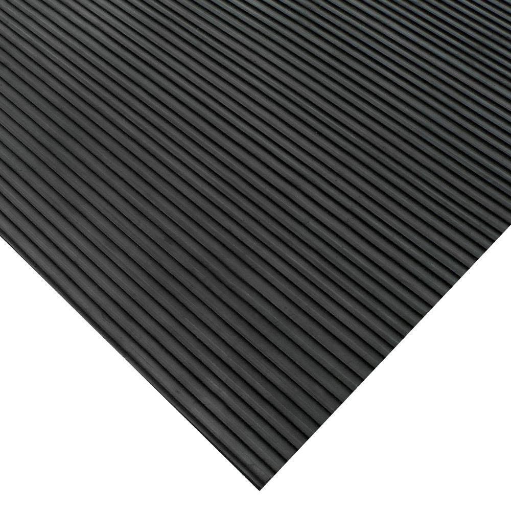 Corrugated Ramp Cleat 3 ft. x 15 ft. Black Rubber Flooring