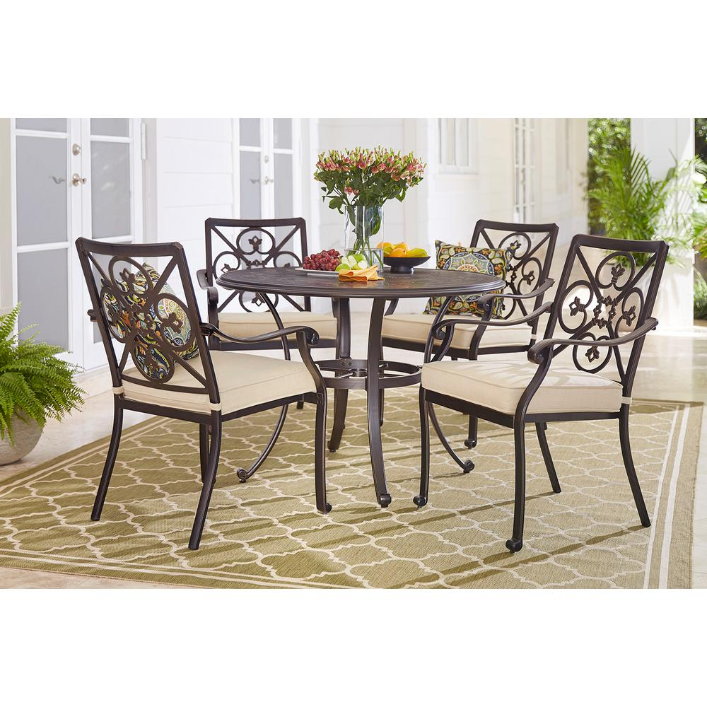 Hampton Bay Ainsworth 5 Piece Aluminum Round Outdoor Dining Set With  Oatmeal Cushions