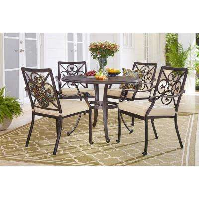Ainsworth 5-Piece Aluminum Round Outdoor Dining Set with Oatmeal Cushions