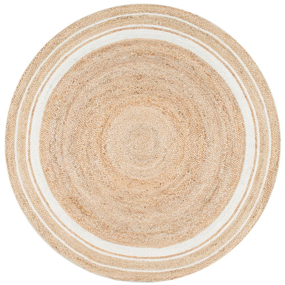 Nuloom Braided Rikki Border Jute Bleached 8 Ft X Round Area Rug Tadr04a 808r The Home Depot
