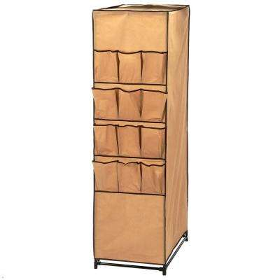 62 in. H x 27 in. W x 18 in. D Portable Closet with Shoe Organizer in Khaki