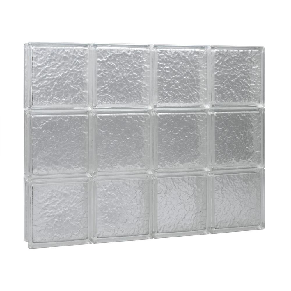 Pittsburgh Corning 28 in. x 48 in. x 3 in. GuardWise IceScapes Pattern Solid Glass Block Window