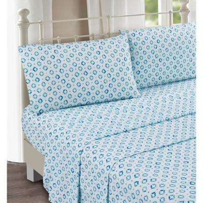 Sundial Blue 4-Piece Cotton Sateen Queen Sheet Set