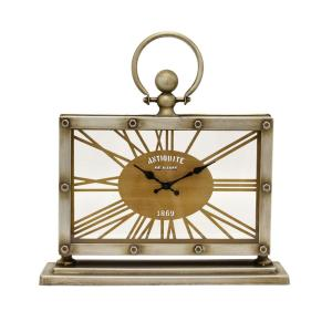 THREE HANDS 16.5 inch Silver Table Top Clock by THREE HANDS