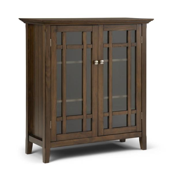 Bedford Rustic Natural Aged Brown Solid Wood Wide Low Storage Media Cabinet