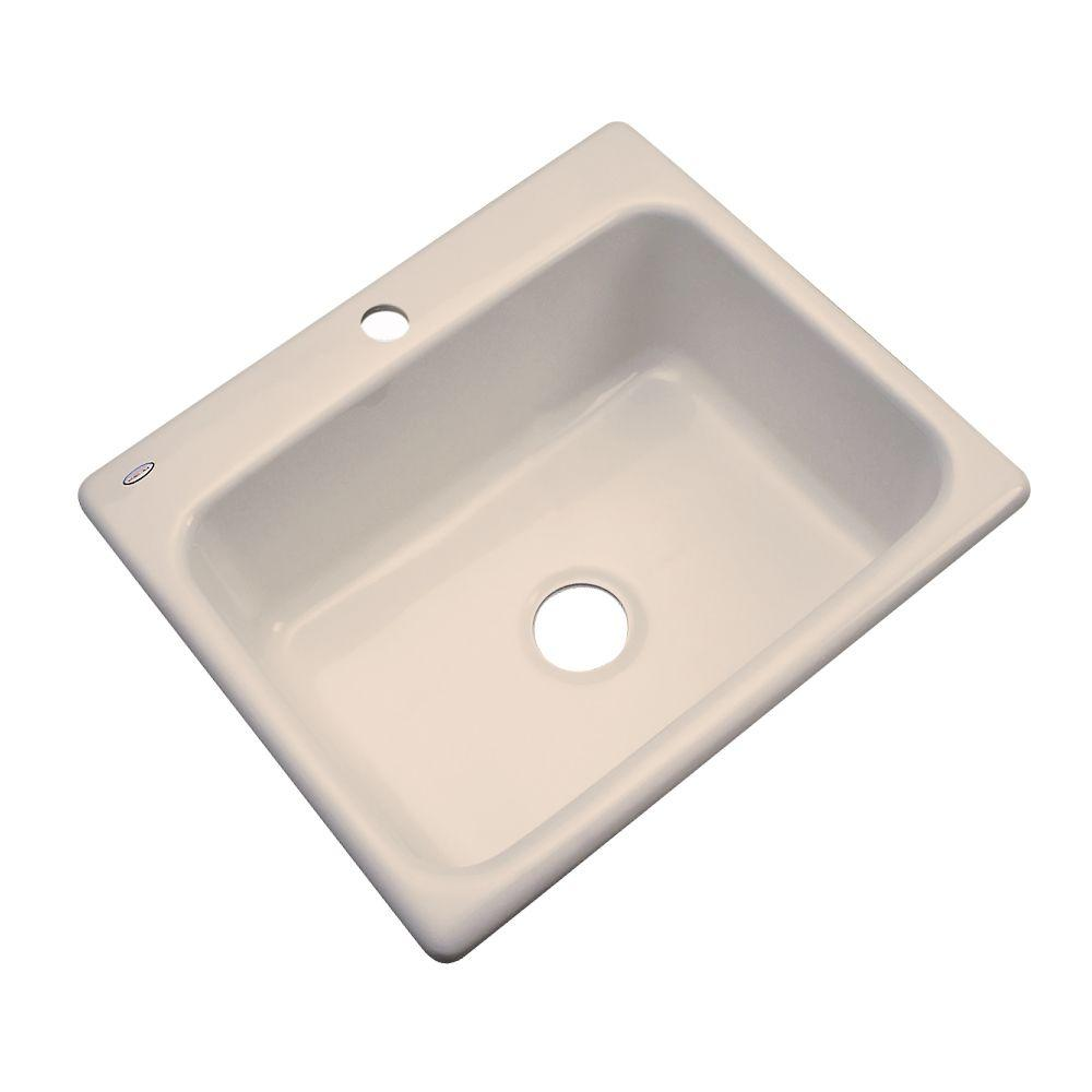 Thermocast Inverness Drop-In Acrylic 25 in. 1-Hole Single Bowl Kitchen Sink in Candlelyght