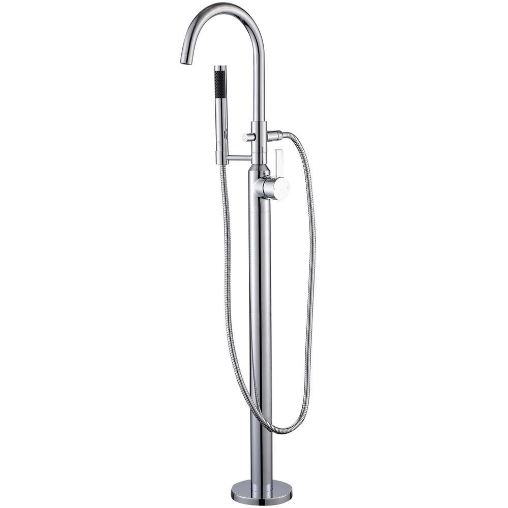 Luxier Modern Freestanding Single-Handle Floor-Mount Roman Tub Faucet Filler with Hand Shower in Chrome