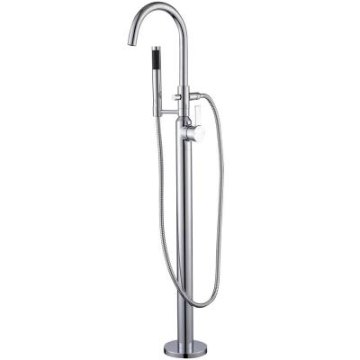 Modern Freestanding Single-Handle Floor-Mount Roman Tub Faucet Filler with Hand Shower in Chrome