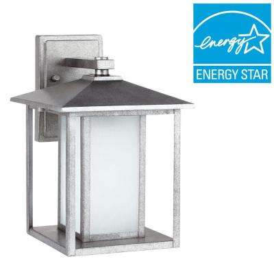 Hunnington 1-Light Medium Outdoor Weathered Pewter Wall Mount Lantern
