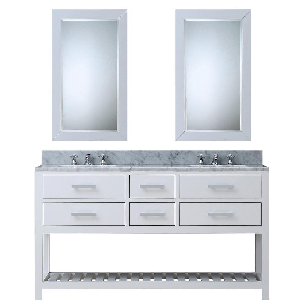 60 in. Vanity in Carrara White with Marble Vanity Top in