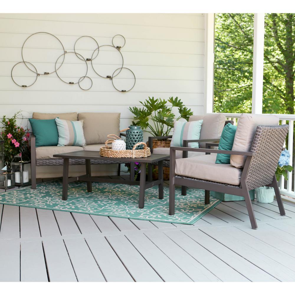 Preston 4 piece wicker patio conversation set with tan for Patio conversation sets