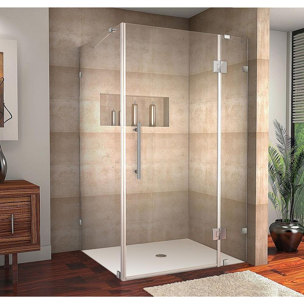 Completely Frameless Shower Enclosure In Stainless Steel Sen987 Ss 4834 10 The Home Depot