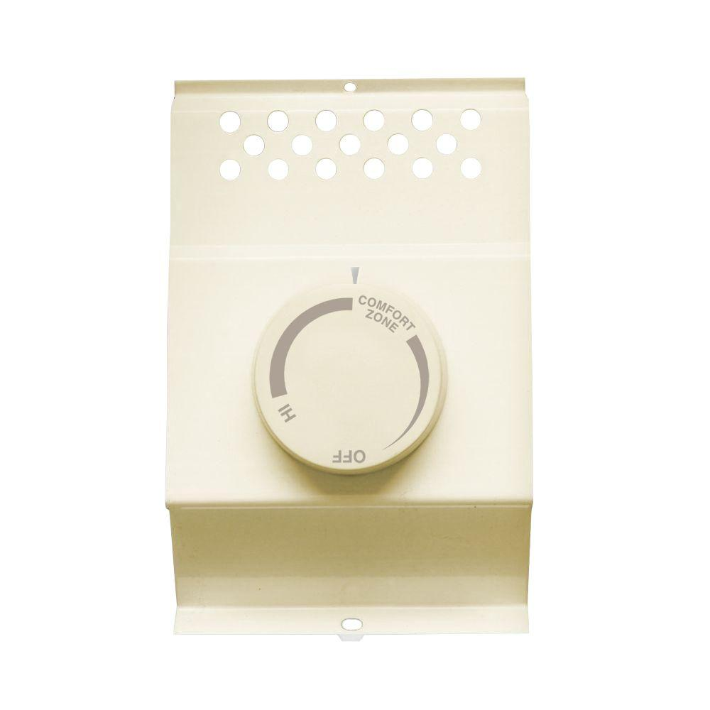 Cadet Double-Pole Electric Baseboard-Mount Mechanical Thermostat in Almond