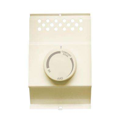 Double-Pole Electric Baseboard-Mount Mechanical Thermostat in Almond