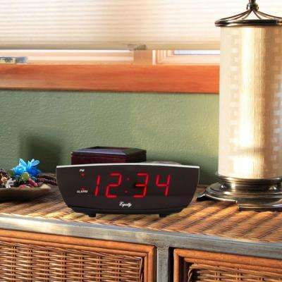 Red 0.9 in. LED Electric Alarm Table Clock with USB Port