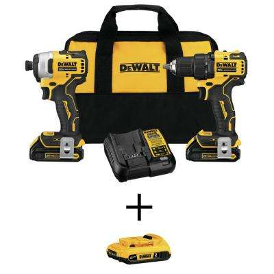 ATOMIC 20-Volt Brushless Cordless Compact Drill/Impact Combo Kit (2-Tool), (2) Batteries 1.3Ah & Charger w/Free Battery