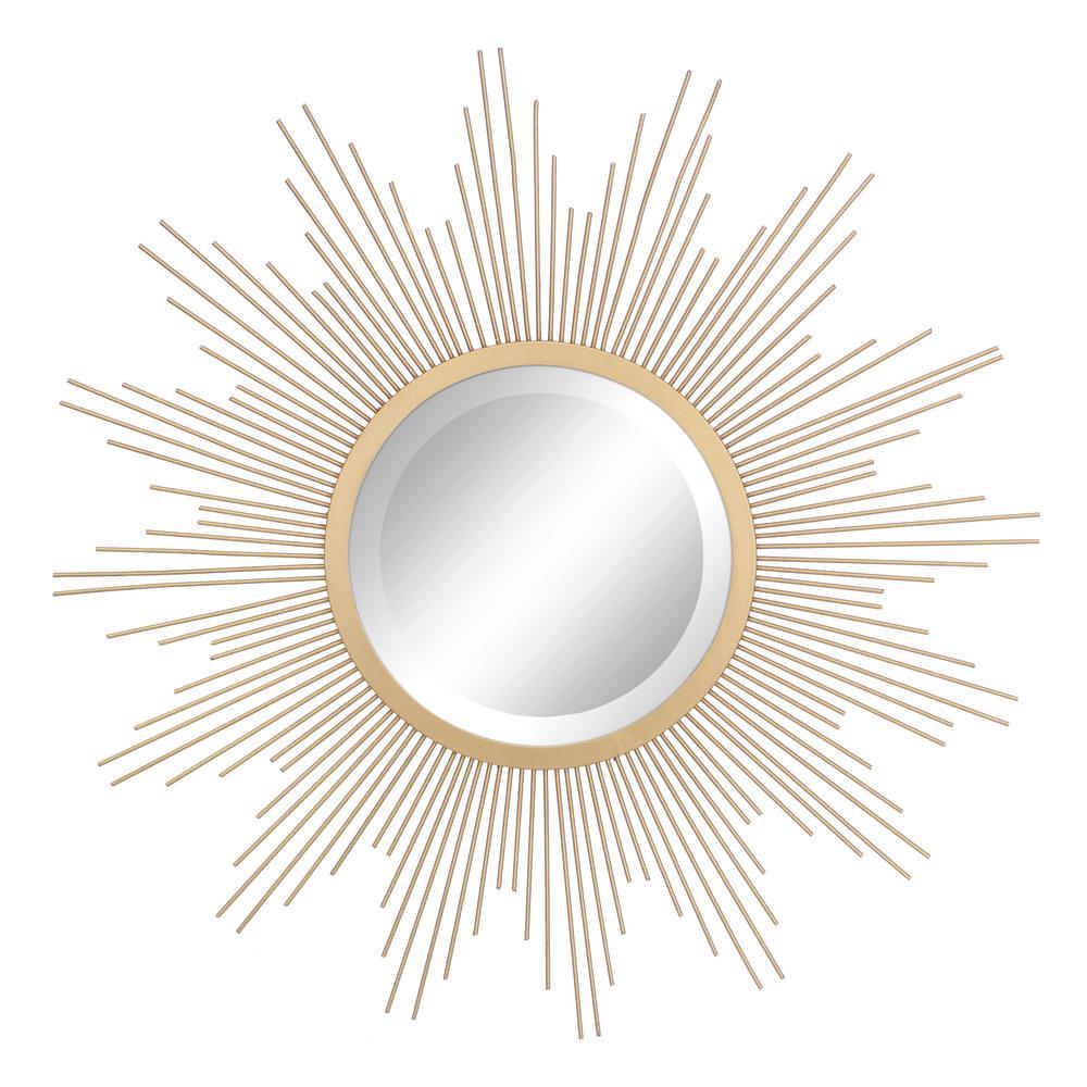 Wire Sunburst Antique Gold Decorative Mirror