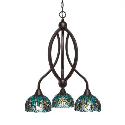 3-Light Bronze Chandelier with 7 in. Turquoise Cypress TiffGlass Glass