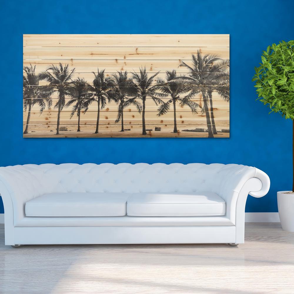 "30 in. x 60 in. ""Solitary Beach"" Arte de Legno Digital Print on Solid Wood Wall Art"