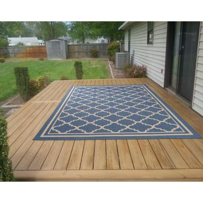 Jardin Collection Moroccan Trellis Design Natural Blue 5 ft. x 7 ft. Indoor/Outdoor Area Rug