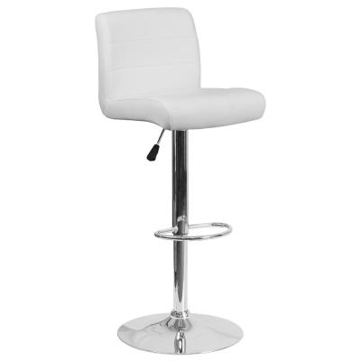 34.50 in. Adjustable Height White Cushioned Bar Stool