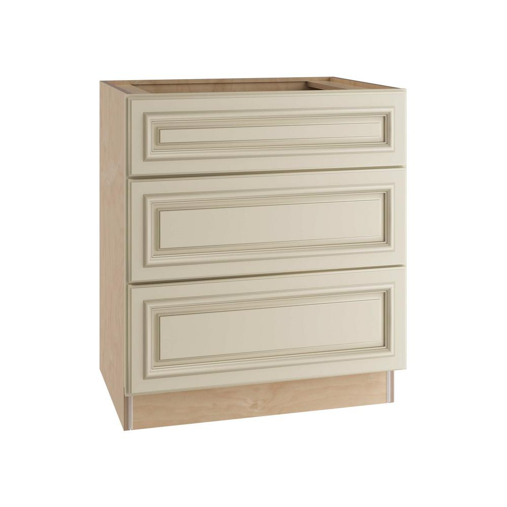 Home Decorators Collection 30x34.5x24 in. Holden Assembled Base Cabinet with 3 Drawers in Bronze Glaze