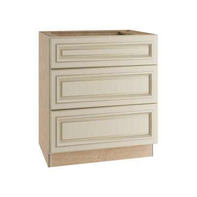30x34.5x24 in. Holden Assembled Base Cabinet with 3 Drawers in Bronze Glaze