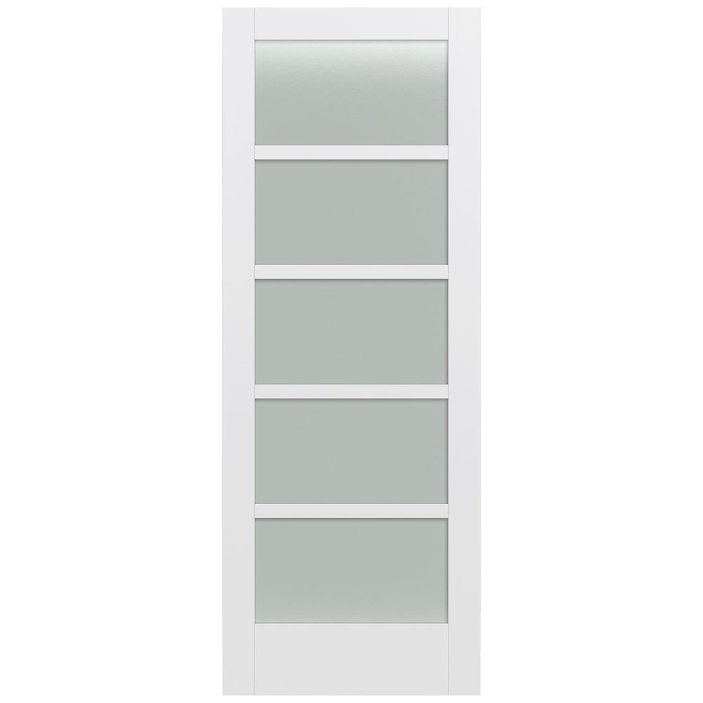 Jeld-Wen 36 in. x 96 in. Moda Primed PMT1055 Solid Core Wood Interior Door Slab w/Translucent Glass