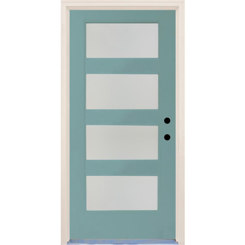 36 In.x80 In. Elite Surf Etch Glass Contemporary LeftHand 4Lite Satin