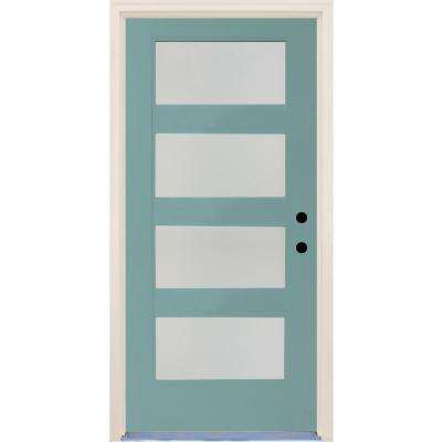 36 in.x80 in. Elite Surf Etch Glass Contemporary LeftHand 4Lite Satin Painted Fiberglass Prehung FrontDoor w/ Brickmould