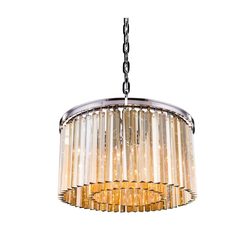 Elegant Lighting Sydney 8-Light Polished Nickel Chandelier with ...