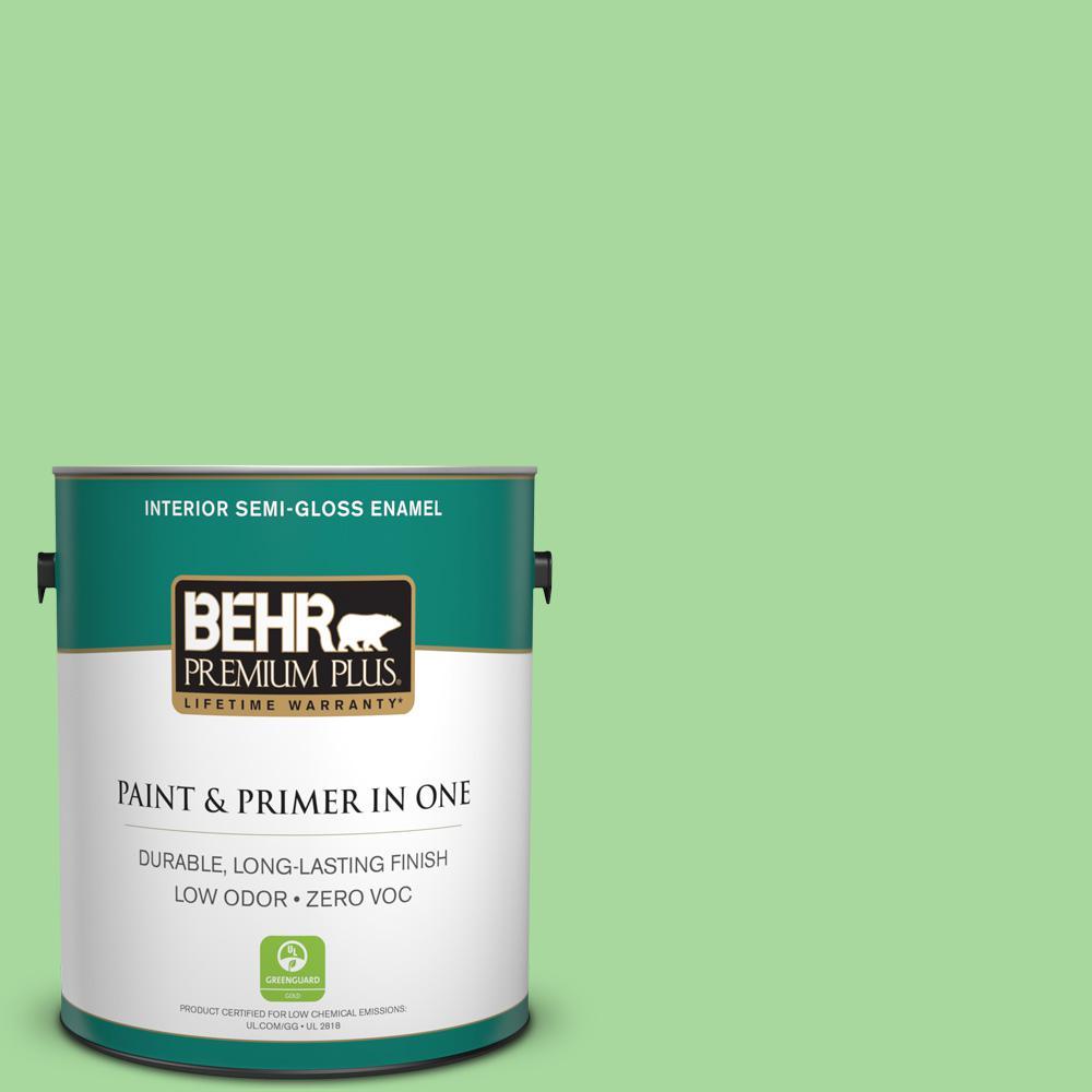 1-gal. #440B-4 Cool Aloe Zero VOC Semi-Gloss Enamel Interior Paint