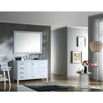 Cambridge 55 in. Bath Vanity in White with Marble Vanity Top in Carrara White with White Basins and Mirror