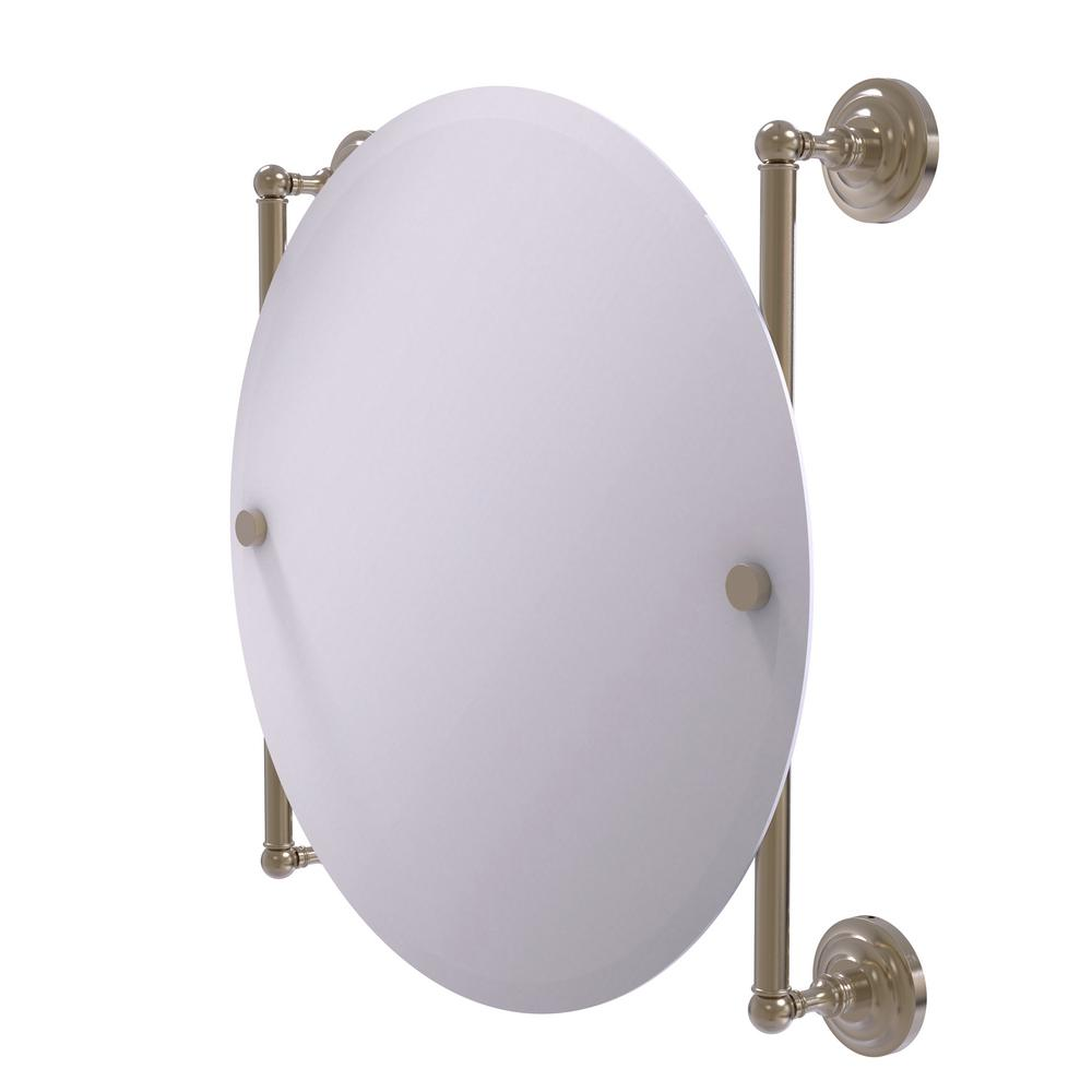 Allied Brass Que New Collection Round Frameless Rail Mounted Mirror In Antique Pewter