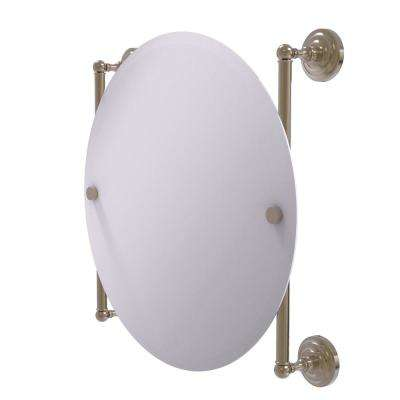 Que New Collection Round Frameless Rail Mounted Mirror in Antique Pewter