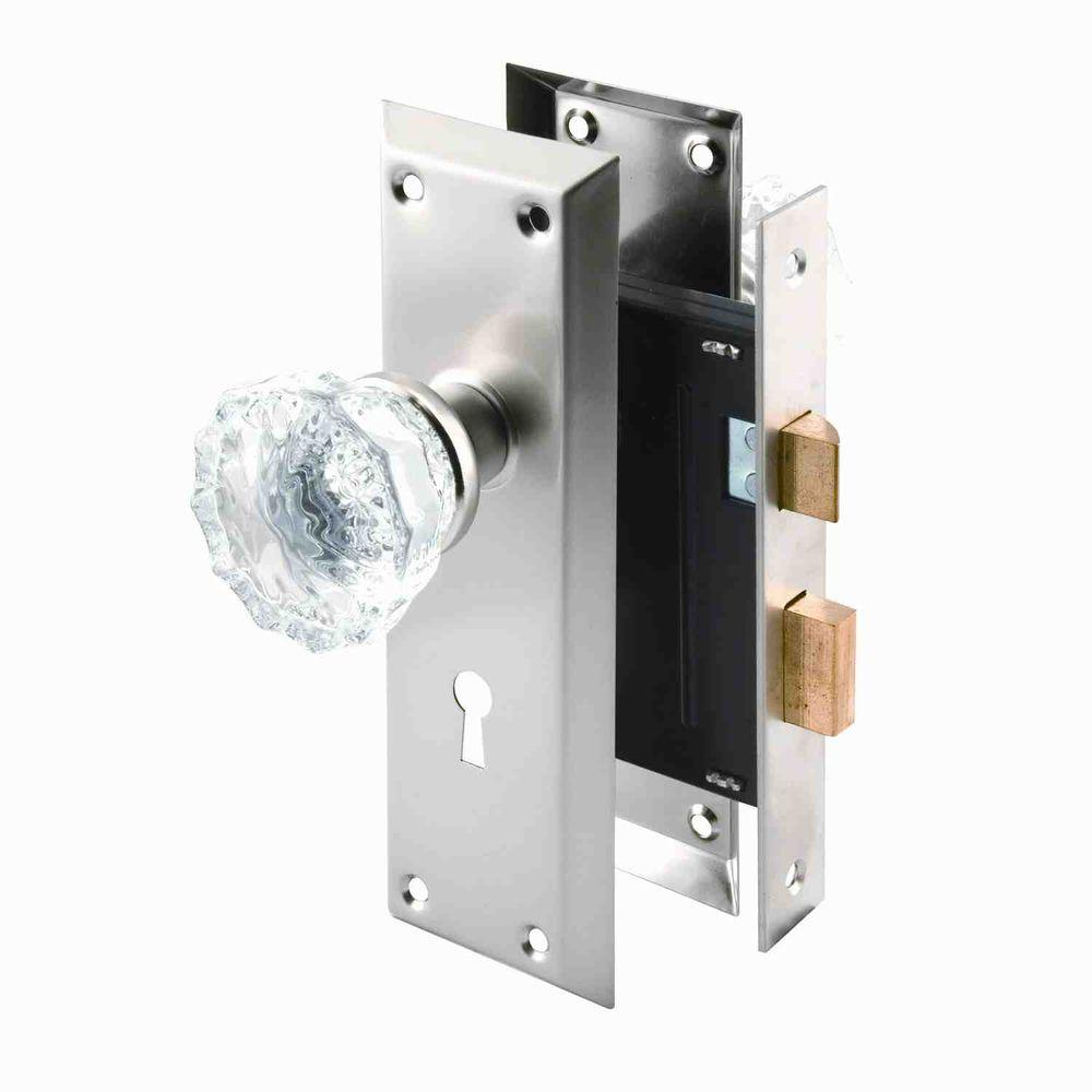 Prime-Line Single Cylinder Satin Nickel Mortise Lock Set with Glass Knobs