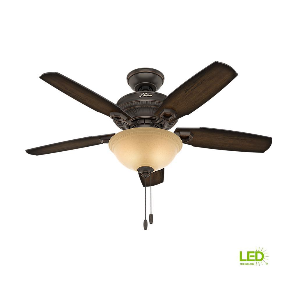 hunter ambrose 44 in indoor onyx bengal bronze ceiling fan with