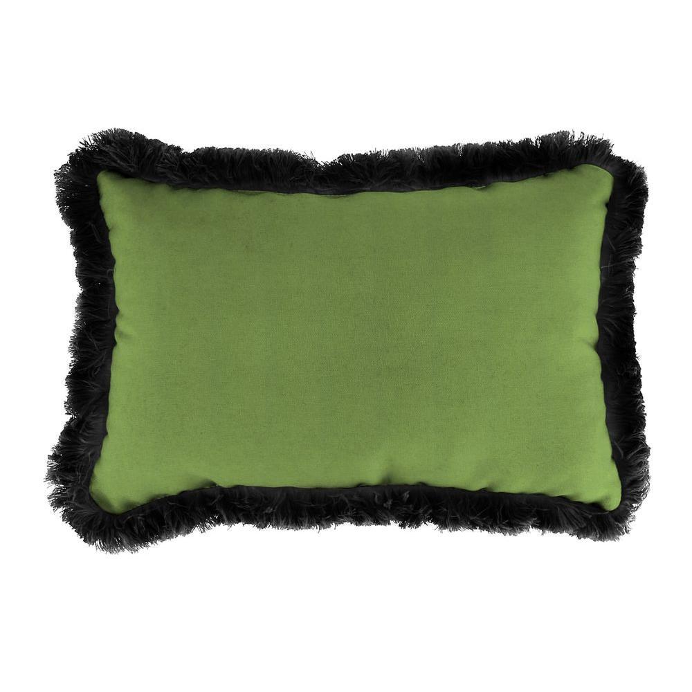 Sunbrella 19 in. x 12 in. Canvas Gingko Lumbar Outdoor Throw Pillow with Black Fringe