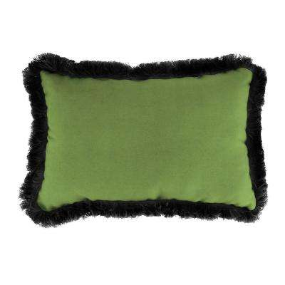 Sunbrella 19 in. x 12 in. Canvas Gingko Lumbar Outdoor Throw Pillow with Black Fringe
