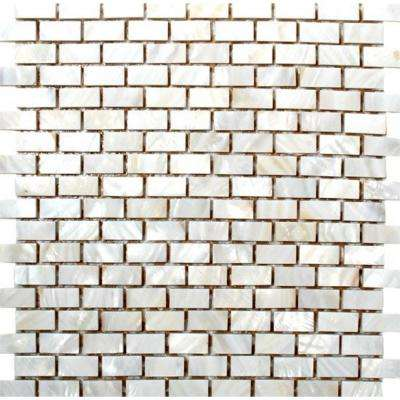 12 in. x 12 in. x 8 mm Tile Esque Mother Of Pearl Mesh-Mounted Mosaic Tile