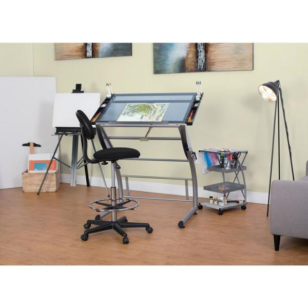 Studio Designs Triflex 35 25 In W Metal And Glass Craft Drawing Drafting Table With Adj Height And Tilt Sit Or Stand Desk Silver 10089 The Home Depot