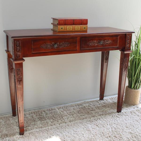 Brown Stained Hand Carved Wood 2-Drawer Rectangular Console Table