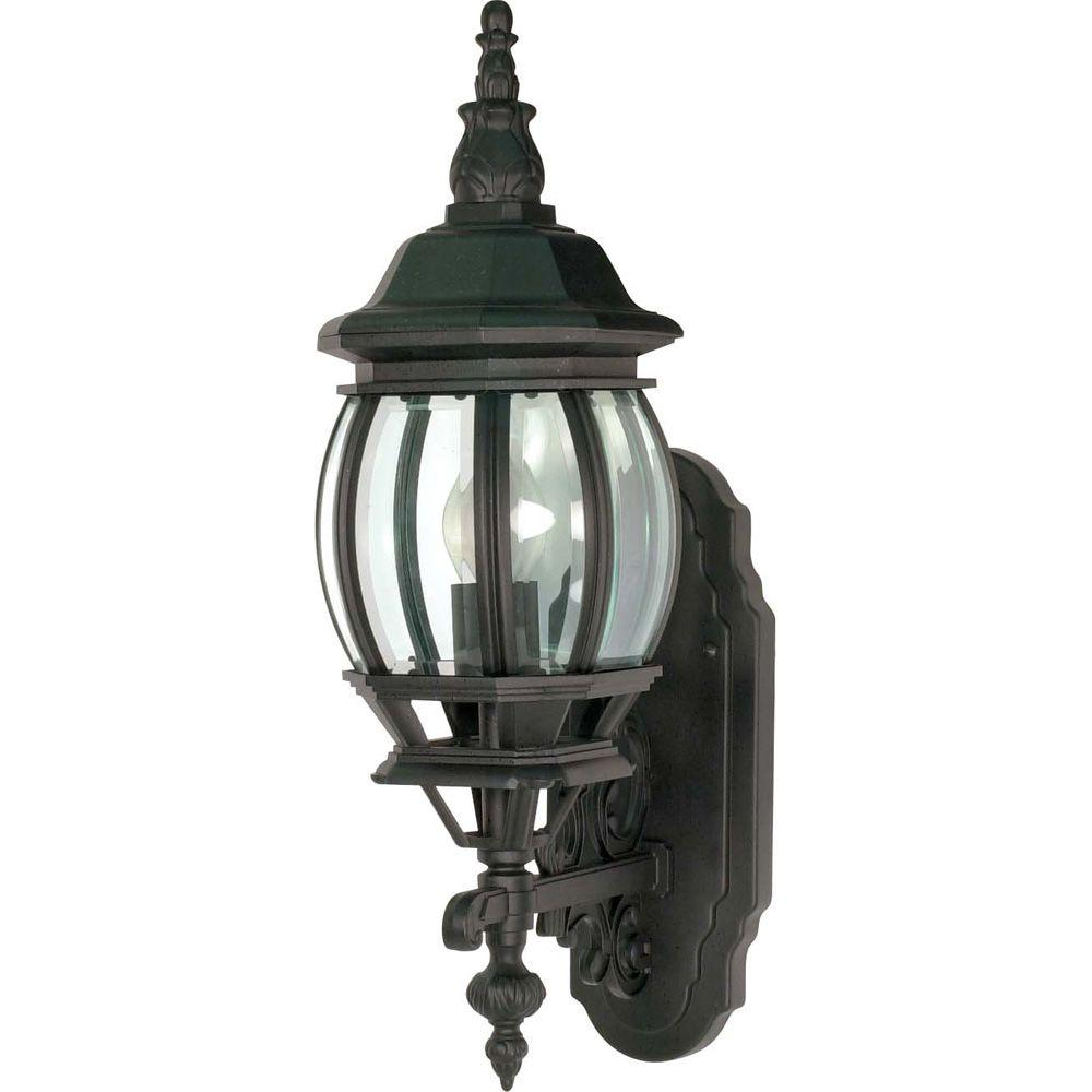 Glomar 1-Light - 20 in. Wall Lantern Sconce with Clear Beveled Glass Textured Black